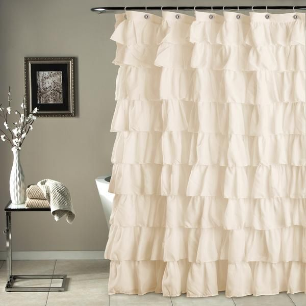 "Ruffle shower curtain in microfiber has overlapping ruffles. - Shower Curtain: 72""H x 72""W - Fabric Content: 100% Polyester - Dry clean *Ships from Dayton, NJ."