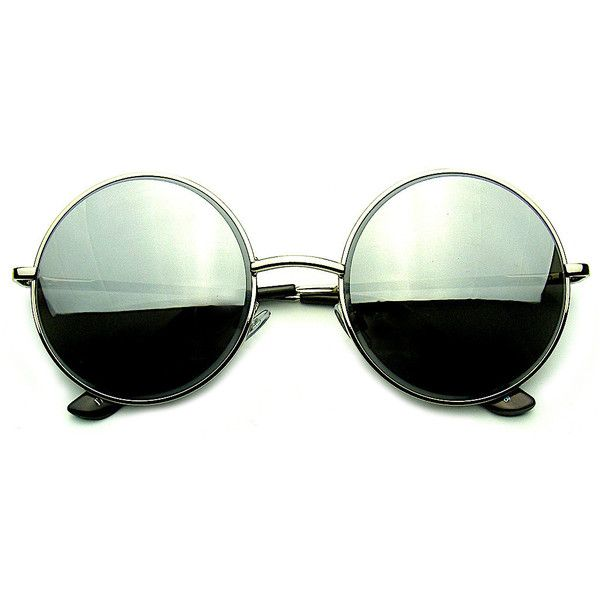 Round Metal REVO Mirrored Lens Sunglasses ($8.95) ❤ liked on Polyvore featuring accessories, eyewear, sunglasses, glasses, sunnies, mirror glasses, mirror sunglasses, round sunglasses, round lens glasses and metal-frame sunglasses