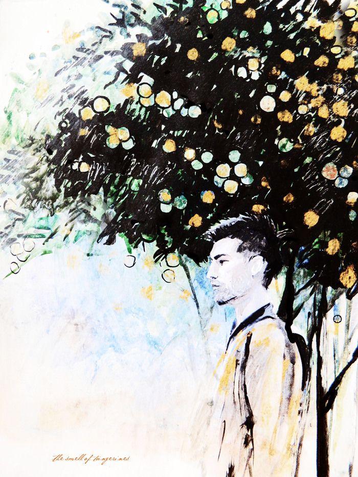 Иллюстрация к хайку:  Жду пятый месяц  чтоб мандаринов запах  наполнил воздух,  так рукава любимой  давно когда-то пахли.  (Неизвестный автор)