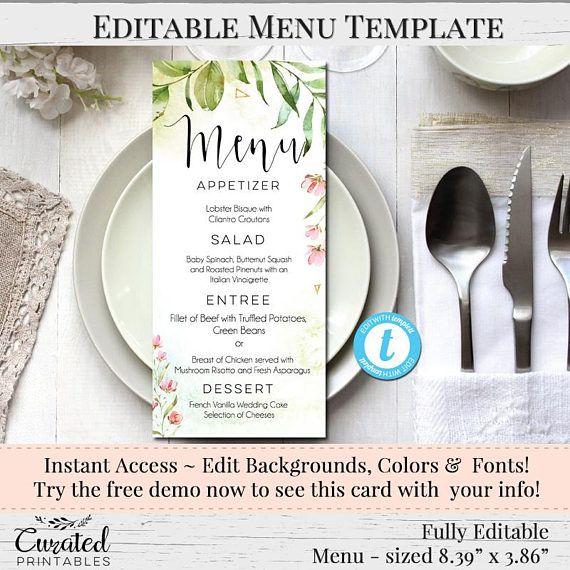 Printable Menu Wedding Menu Printable Wedding Templates