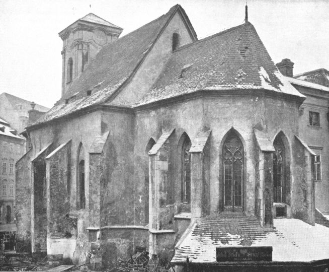 St. Niclaus church, Brno, ca. 1230-1869 Photo from beginning of year 1869, when demolition started