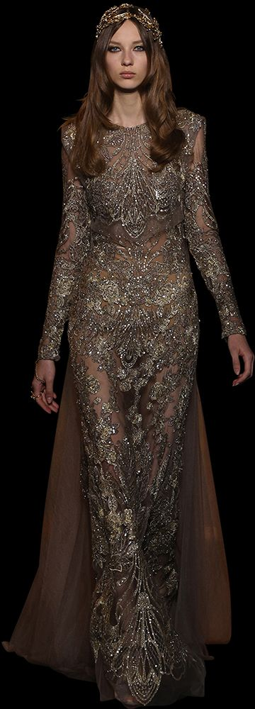 Grey and gold guipure long-sleeved fitted gown fully embroidered with silk threads and sequins, with a cropped top.
