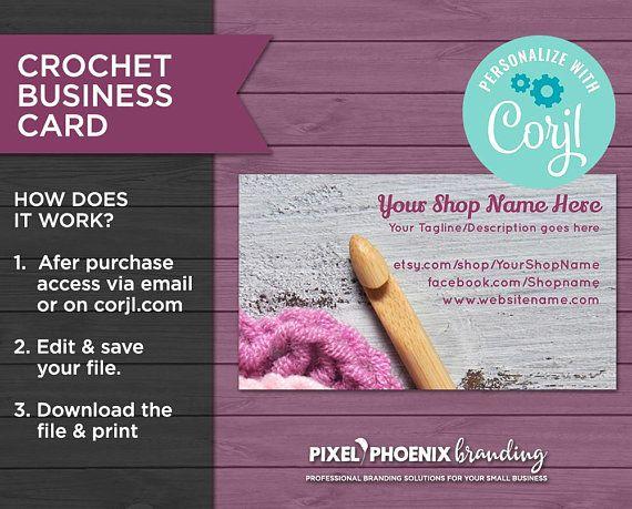 Crochet Card Crochet Business Card Printable Cards Editable Card Amigurumi Card Business Card Template Ed Crochet Business Printable Cards Editable Cards