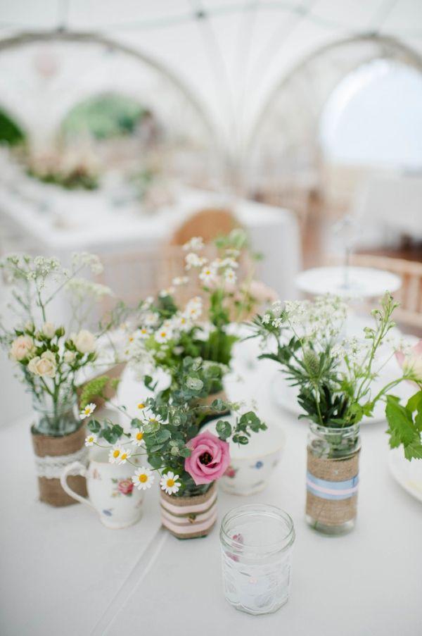 Vintage Vicarage Quirky Wedding Jam Jar Hessian Flowers Daisies Roses http://www.alexa-loy.com/