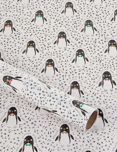4m Cute Penguin Roll Wrapping Paper Home