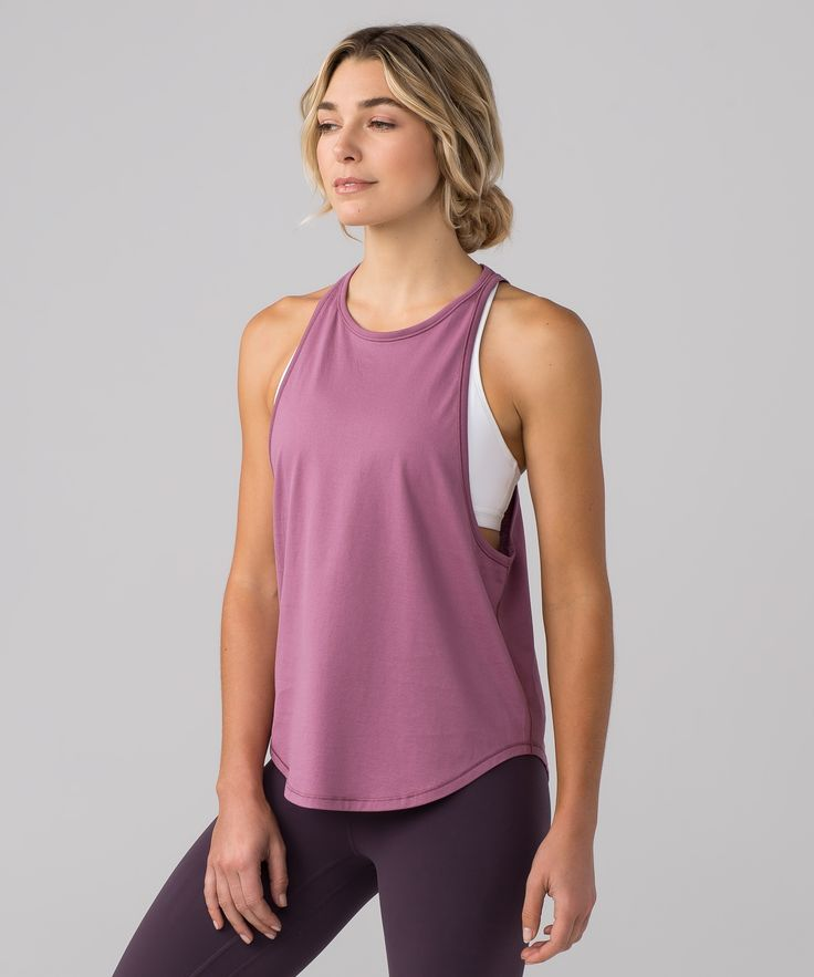 We designed this muscle tank  with super low armholes for  airflow during your practice  and hot summer days.