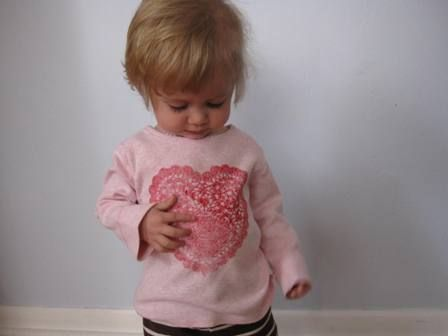 heart doily t-shirt/ great way to cover up a stained shirt!: Homemade Valentine, Paper Doilies, Valentine'S S, Doilies Heart, Heart Shirts, Heart Doilies, Valentine'S Activities, Doilies Shirts, Diy'S Shirts