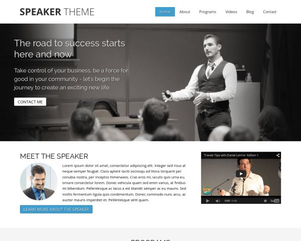 The Speaker Wordpress Theme was designed specifically to help Speaker companies attract new customers. This makes it a breeze to publish a professional Speaker website!