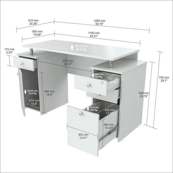 Inval America ES-3203 Laricina-White Finish Computer Desk
