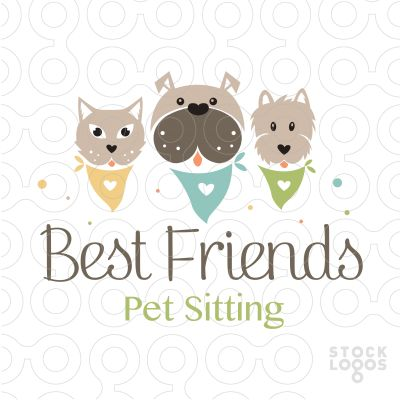 LOGO SOLD Cute adorable logo of cat and two dogs wearing