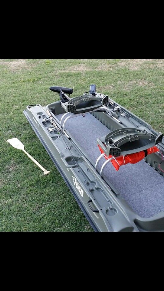 This is what upgrades I am going to do to my Pelican Bass Raider. 1) Put in a carpeted floor 2) Install a fish finder 3) Install a trolling motor 4) Install rod straps (Not Shown) 5) Replace seat with cushion seats (Not Shown)
