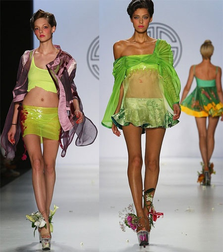 "2009 runway show by Constanze Gonzalez and Paul Scherer featuring ""flower vase shoes."" (a.k.a. ""Treasure Chest""-style stripper shoes!)"