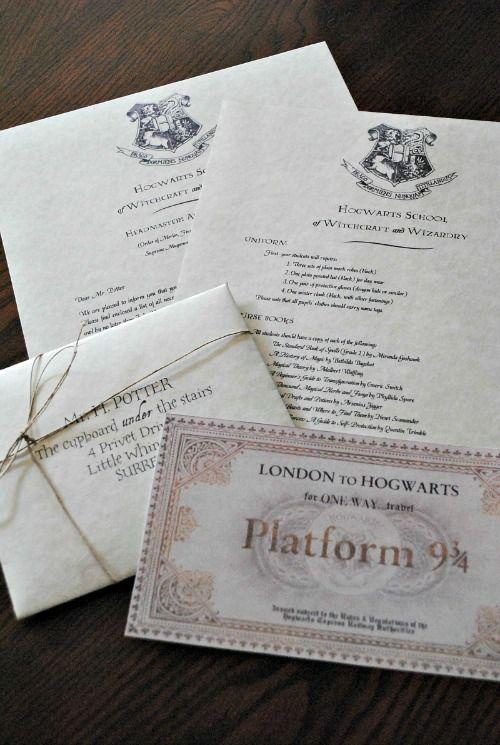 Wedding Invitation & Save The Date Inspiration: Harry's Hogwarts Acceptance Letter & Hogwarts Express Ticket