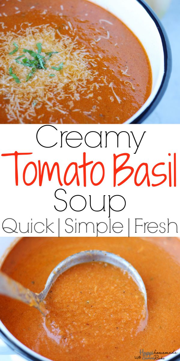 The BEST Creamy Tomato Basil Soup   This easy homemade recipe is packed full of …   – Recipes by Sammi @ HappiHomemade Blog
