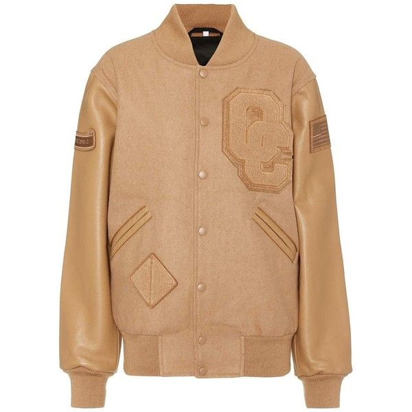 Opening Ceremony Wool-Blend and Leather Varsity Jacket ($575) ❤ liked on Polyvore featuring outerwear, jackets, brown, real leather jackets, wool blend jacket, teddy jacket, opening ceremony and varsity style jacket