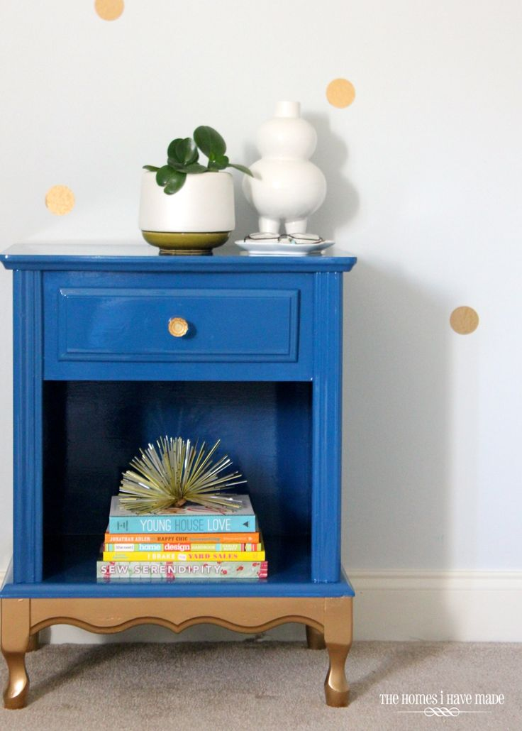 Glam blue and gold nightstand - done in high-gloss oil-based paint!