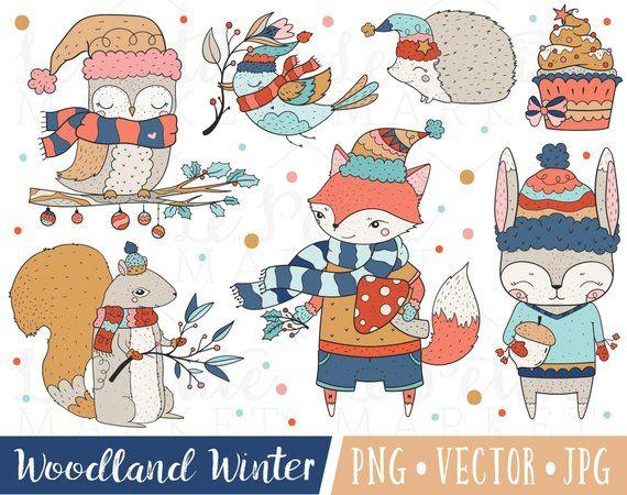 Cute Winter Animals Clipart Christmas Forest Animals Clipart Etsy In 2021 Pet Holiday Winter Animals Clip Art