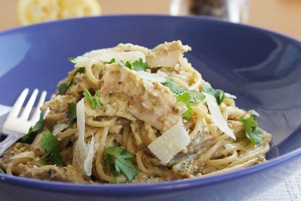 Aubergine, courgette, walnut & chicken pesto spaghetti - Scrummy Lane