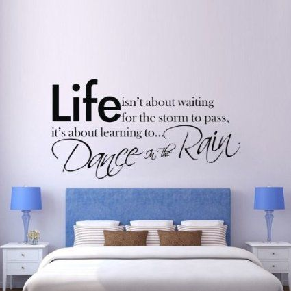 """23.6"""" X 41.3"""" Life Isn't About Waiting for the Storm to Pass It's Learning to Dance in the Rain Inspirational Quotes Wall Art Sticker Vinyl Lettering Saying Wall Decal Home Decor Mural Art"""