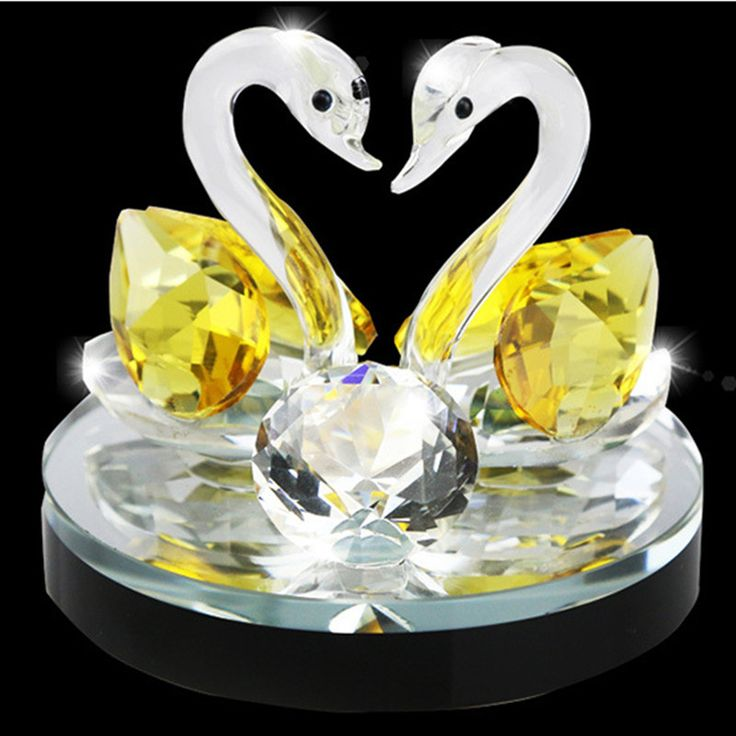 Kristalglas Decoratieve Dier Zwanen Diamant Beeldjes Paperweights Handgemaakte Auto Kantoor Thuis Luchtverfrisser Bedankje Decor