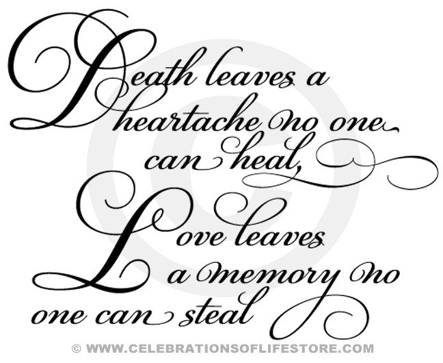 Funeral Poems and Funeral Quotes : Death   Leaves a Heartache Funeral and Memorial Poem. Insert ready made title into any   document.