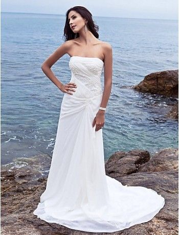 Amazing Sheath Strapless Chiffon Sweep Train Beach Wedding Dress