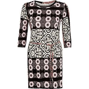 Black printed stretch-jersey belted tunic