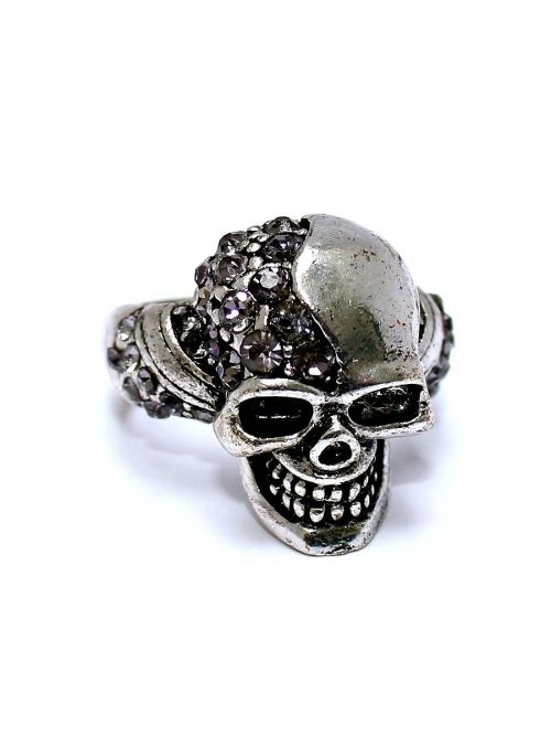 Metalhead Skull Ring - Smiling Skull W. Crystals On Head & Band.