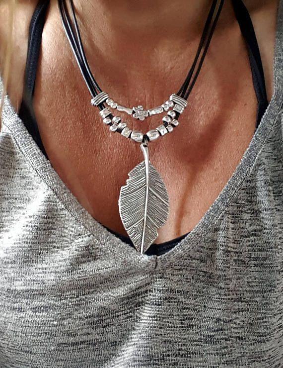 collar cuero grande pluma pluma colgante boho collar de