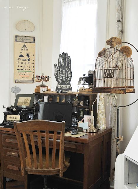 Beautiful vintage home office! Love the hand sign and saw it before at curioussofa.com! From: Common Ground: Vintage Inspiration # 97 Fiona and TwigDesks Area, Work Spaces, Screens Doors, Common Ground, Offices Decor, Vintage Inspiration, Vintage Home Offices, 97 Fiona, Desks Spaces