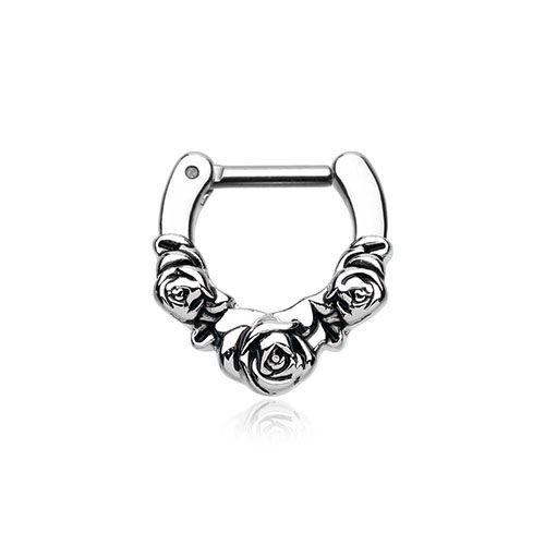 FreshTrends Rose Garden Surgical Steel Septum Clicker | FreshTrends Body Jewelry