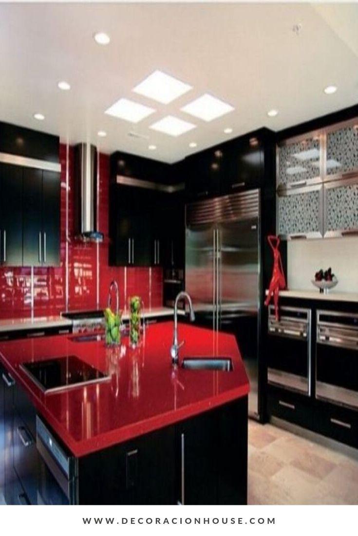 21 Ideas Impresionantes De La Isla De La Cocina Aqui Hay Una Ultima Respuesta Decoracion De Cocinas Negras Gabinetes De Cocina De Madera Cocina Roja Red and black kitchen decorations