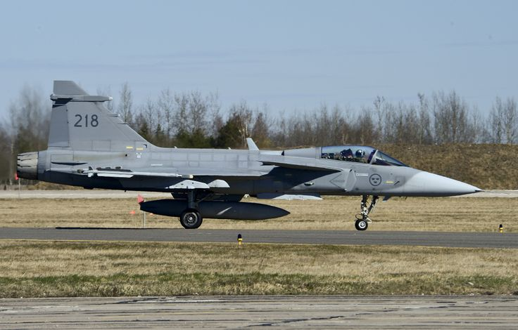 Swedish air force JAS-39 Gripen fighter taxis to the runway during the 17th Baltic Region Training Event at Šiauliai Air Base, Lithuania, April 1, 2014. The event took place in the skies over the Baltic region to sharpen the skills of aircrews and air controllers from the U.S., Lithuanian and Swedish air forces. The event is designed to enhance the interoperability between allied partners in NATO and its Partnership for Peace program. (U.S. Air Force photo by Airman 1st Class Dana J. Butler)