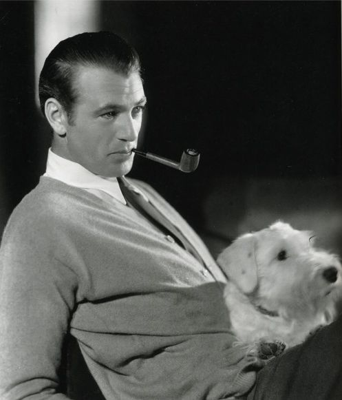 Gary Cooper, with his dog the breed is a Sealyham. Many classic actors loved this breed, but alas the Sealyham is very rare...