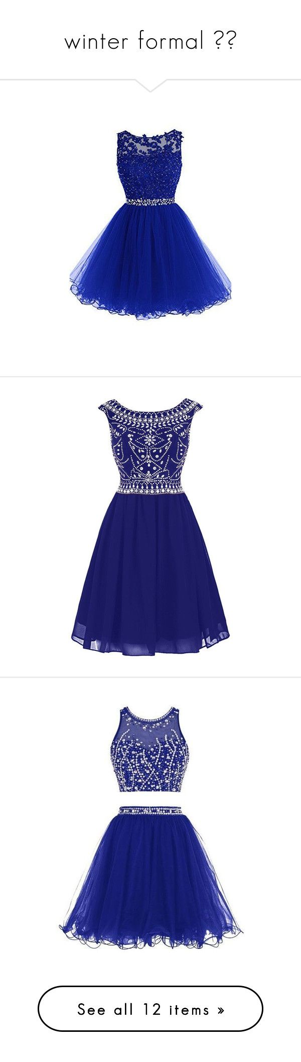 """""""winter formal ❄︎"""" by summerbarnesofficial ❤ liked on Polyvore featuring dresses, short beaded cocktail dresses, short dresses, short beaded dress, short prom dresses, cocktail prom dress, short cocktail prom dresses, blue prom dresses, chiffon cocktail dresses and short blue dresses"""