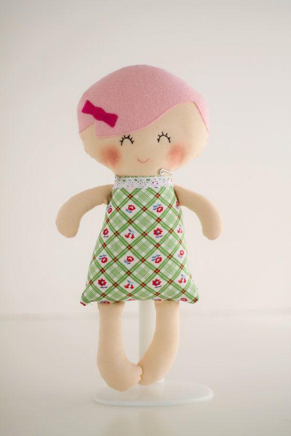 Handmade rag doll with pink hairl,  baby first doll, cloth doll, fabric doll, handmade rag doll - handmade in Ireland, UK handmade