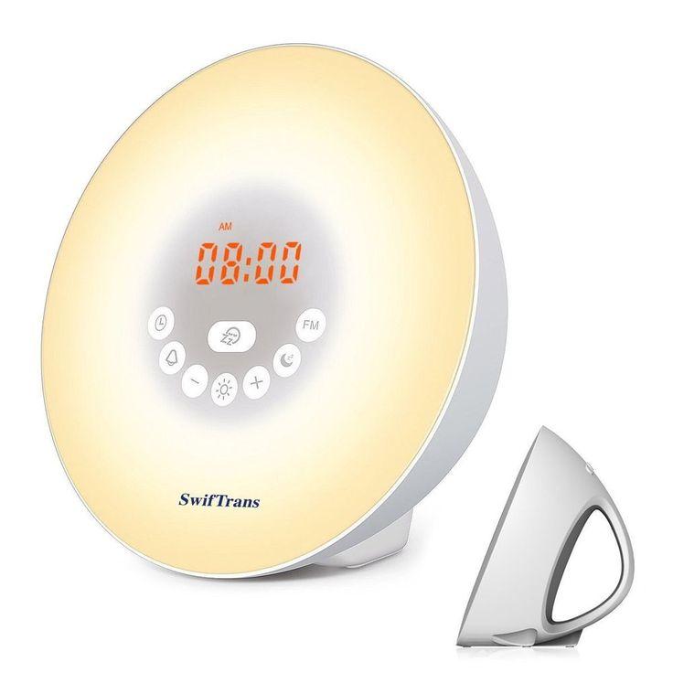 Multi Color Wake-Up Light Alarm Clock Sunrise/Sunset Simulation FM Radio Sounds #Swiftrans