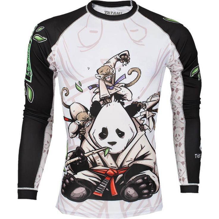 MMA Boxing Panda personality breathable men's sports training stretch tight long-sleeved Fitness Fight  muay thai boxing yokkao