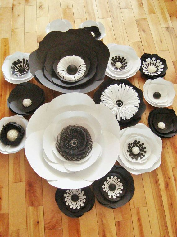 Paper Flower Anemones Set of 15  Black and by DreamEventsinPaper