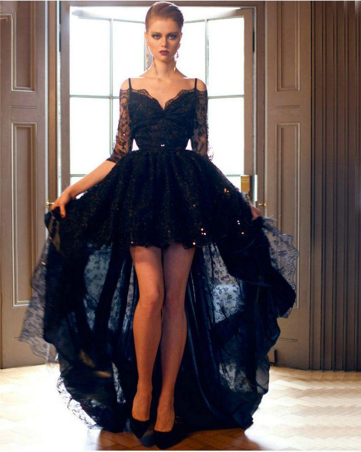 Aliexpress.com: Comprar Elegante encaje negro alto bajo vestido de fiesta 2016 Sexy media manga de noche vestidos largo barato del partido Formal del vestido vestido de fiesta de vestido de niño fiable proveedores en Love Forever Wedding Dress Factory