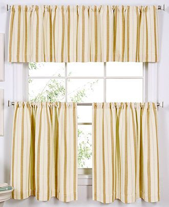 Elrene Ticking Window Treatment Collection Tier Curtains For The Home Macy 39 S Kitchen