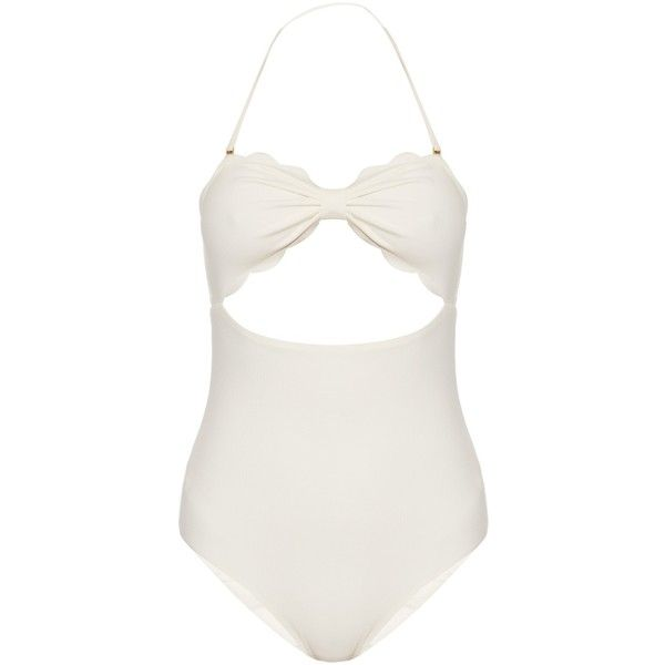 Marysia Swim Antibes scallop-edged swimsuit ($353) ❤ liked on Polyvore featuring swimwear, one-piece swimsuits, one piece bathing suits, white cut out swimsuit, white one piece bathing suit, one piece swimsuit and white swimsuit