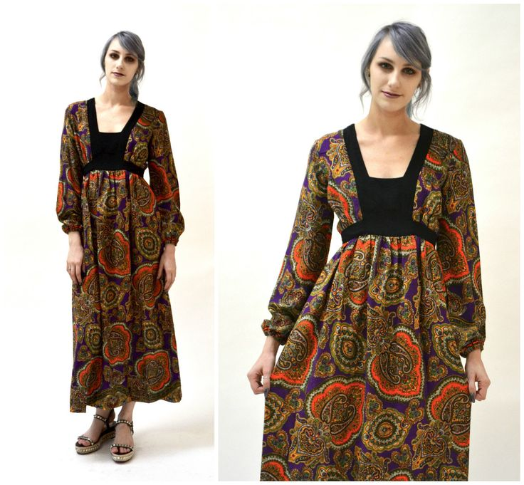 Vintage 70s Boho Dress Paisley Print Long Peasant Dress size Small// 70s Vintage Paisley Print Dress in Purple Bohemian Peasant Dress by Hookedonhoney on Etsy