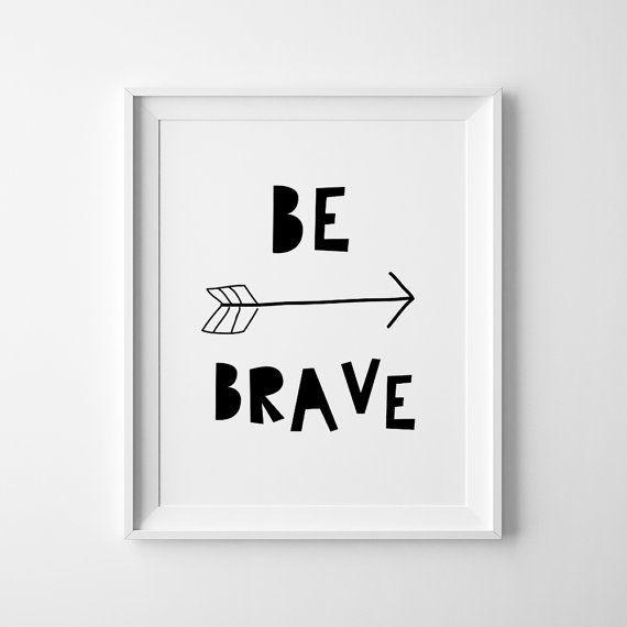 Be brave scandinavian print wall decor kids by happynursery