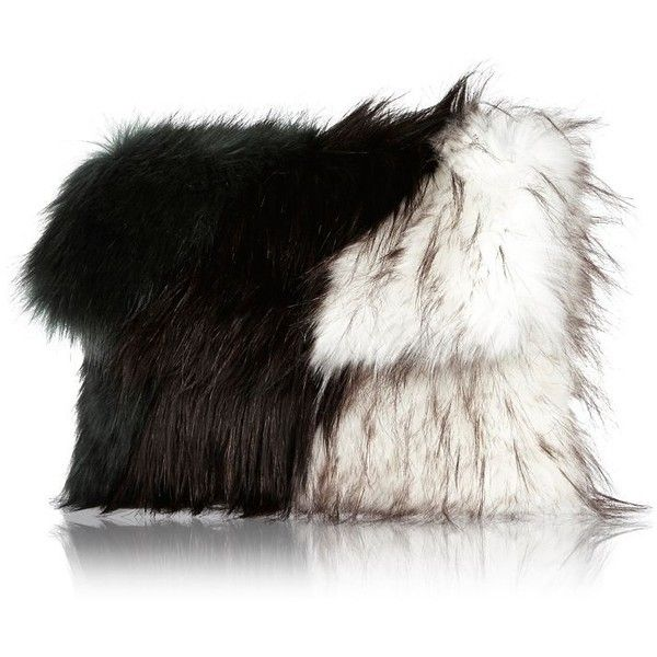 River Island Mixed faux-fur clutch handbag found on Polyvore featuring bags, handbags, clutches, bags / purses, clutch bags, women, faux fur purse, river island purse, black handbags and black purse