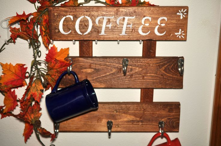 coffee cup holder, rustic coffee cup rack, kitchen coffee cup holder, wall hanging coffee cup rack, pallet wood coffee rack by Elevatedpartysupply on Etsy