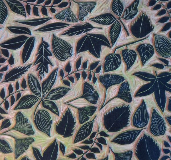 leaves woodcut