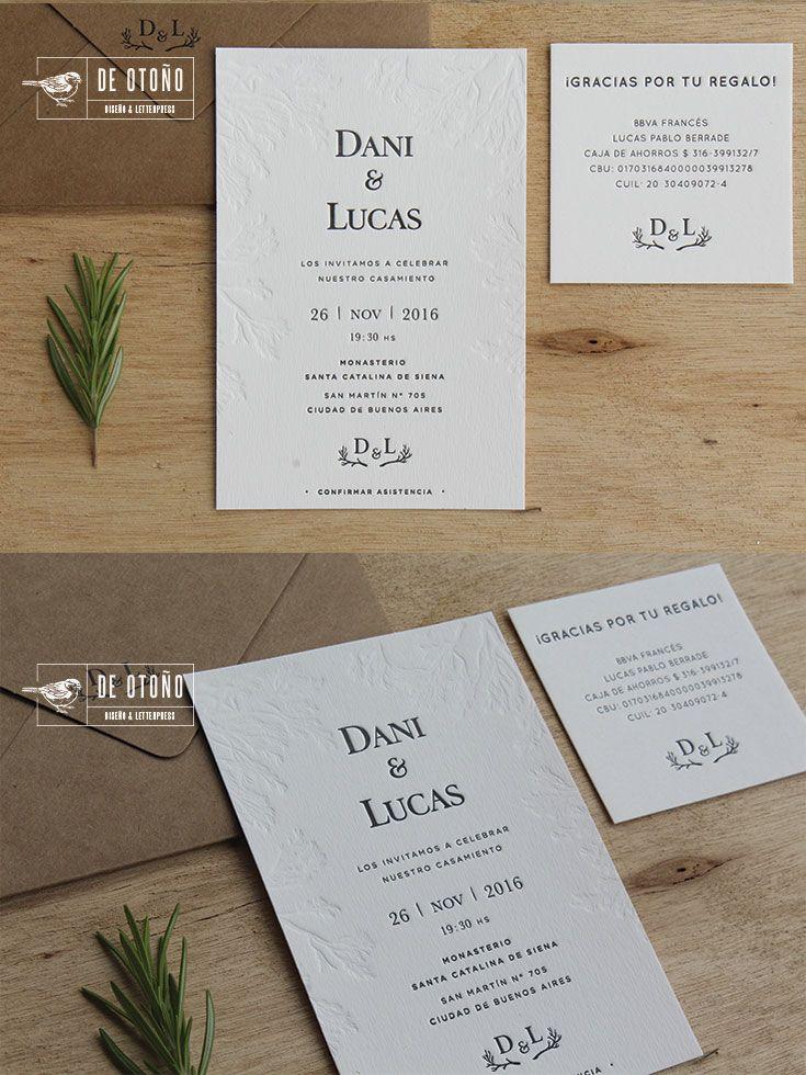 Wedding invitation set Letterpress and design by