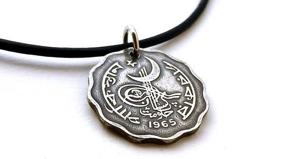 Pakistan  Coin pendant  1965  Coin jewelry  Coin necklace