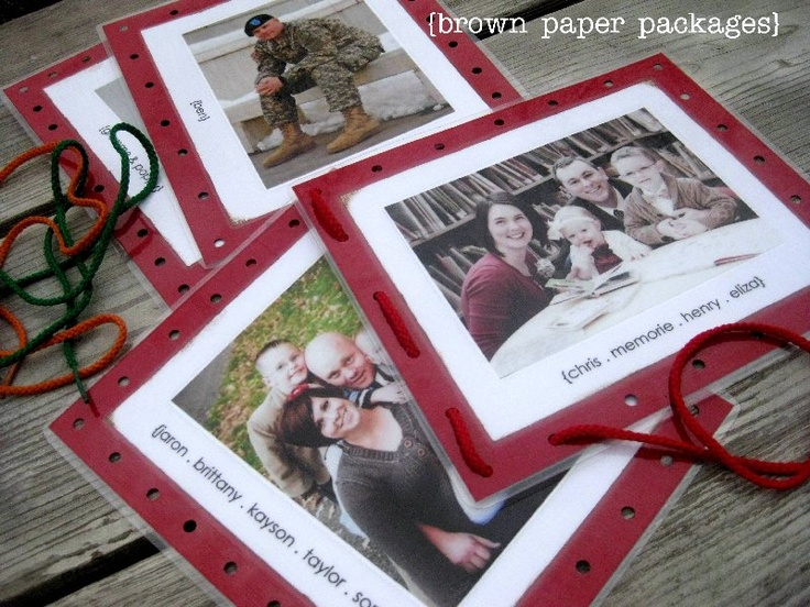 DIY lacing cards...could use this same idea to do different shapes, etc.Brown Paper, Crafts Ideas, Families Pictures, Families Lace, Christmas Cards Pictures, Lace Cards, Families Christmas, Gift Ideas, Kids Crafts